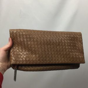 Steve Madden Faux Leather Woven Fold-Over Clutch